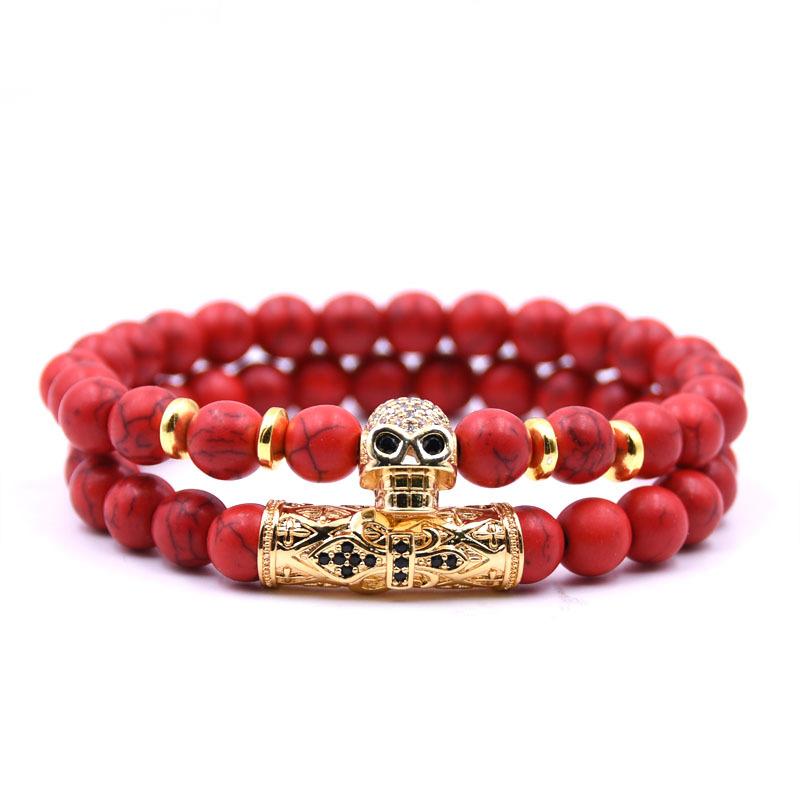 Bratara barbati MYSTYLE Piko Stone Skull Red Bakelite