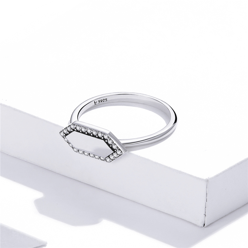 Inel Argint Femei Crystal Hexagon