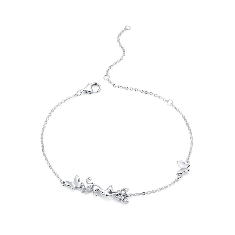Bratara Argint Cat & Butterflies