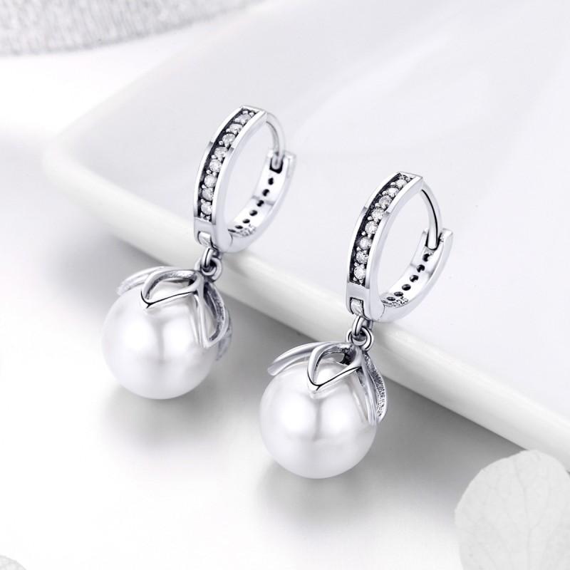 Cercei Argint Pearl Drop
