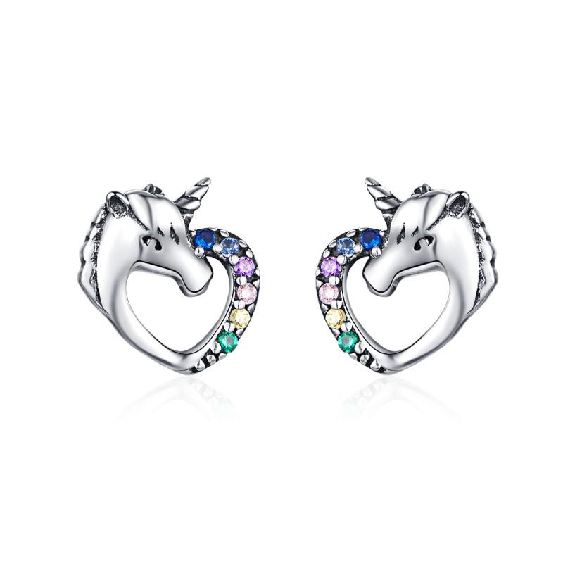 Cercei Argint Inima Unicorn