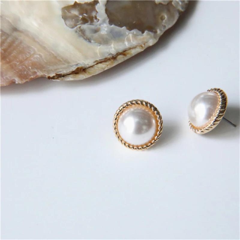 Fashion Earrings Golden Classy White