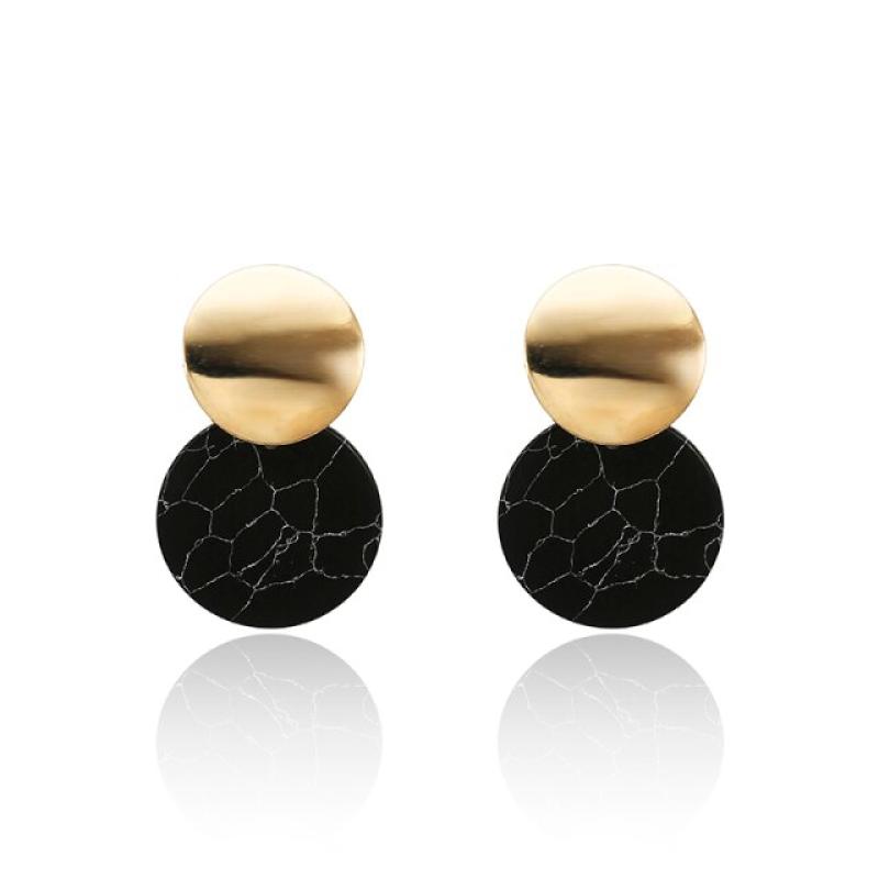 Fashion Earrings Funky Black & Gold