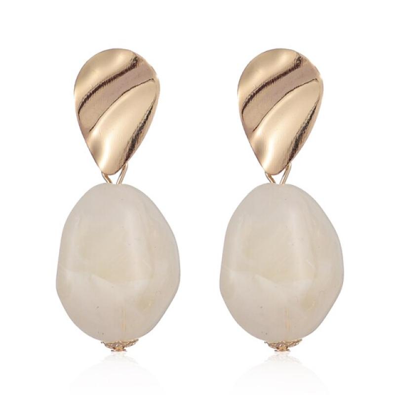 Fashion Earrings Funky Gold & White Stone