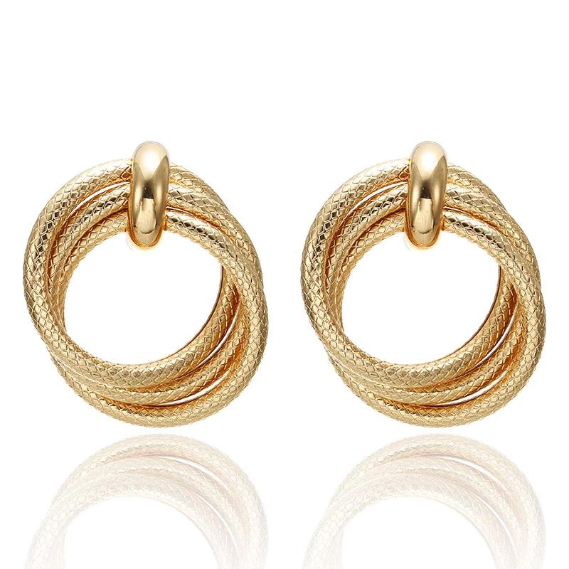 Fashion Earrings Funky Golden Circles
