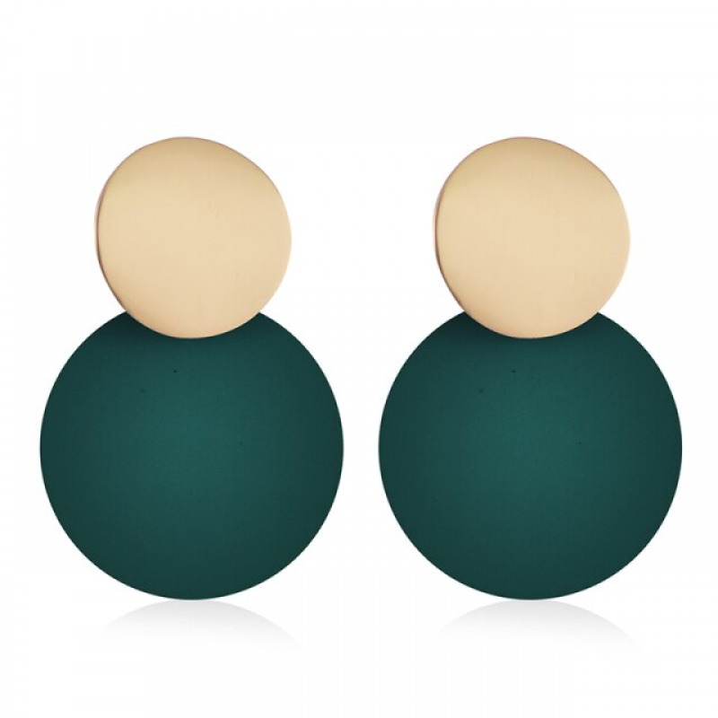 Fashion Earrings Funky Gold&Green