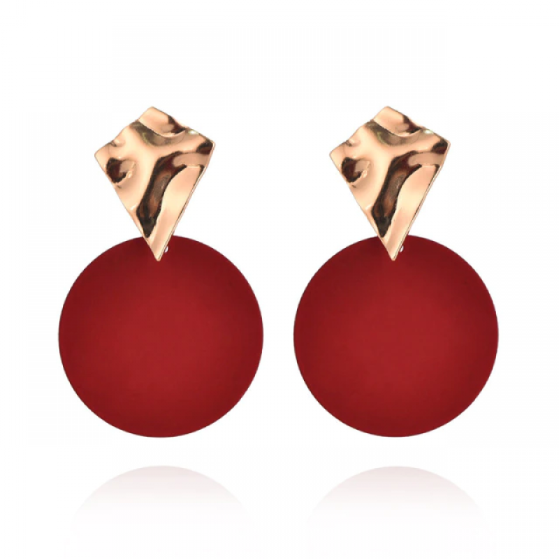 Fashion Earrings Funky Gold&Red