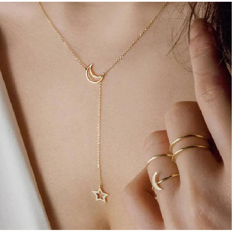 Fashion Colier Luna si Stelele Aurii