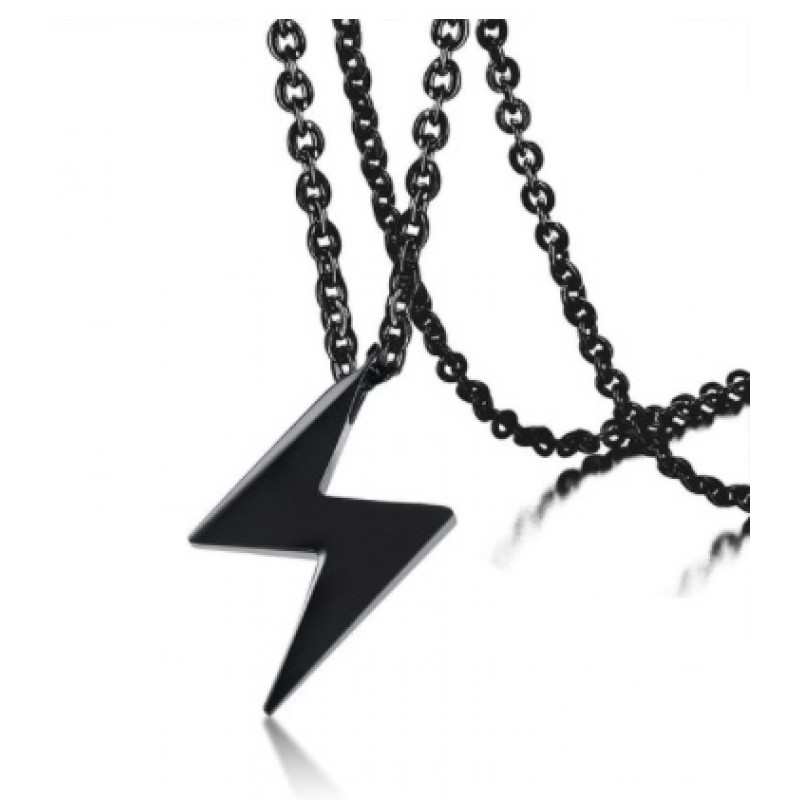 Lant Otel Blackness cu pandativ fulger negru MyStyle